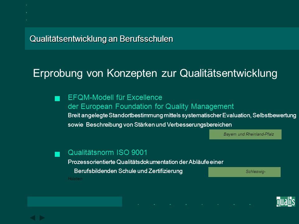 Qualitätsentwicklung an Berufsschulen BLK - Modellversuch Ein Verbundprojekt der Bundesländer Bayern, Rheinland-Pfalz und Schleswig-Holstein