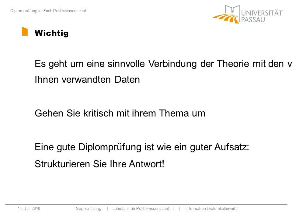Diplomprüfung im Fach Politikwissenschaft 14.