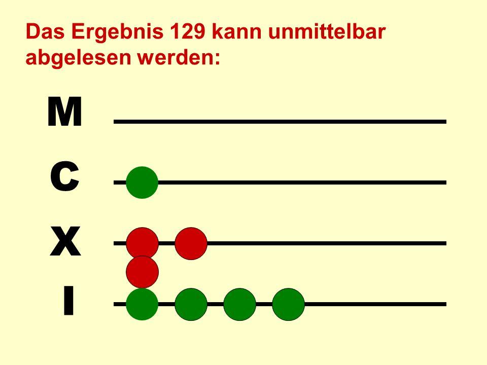 I X C M Beim Addieren werden die Summanden einzeln auf dem Abakus aufgelegt. Z.B. 25 + 104: