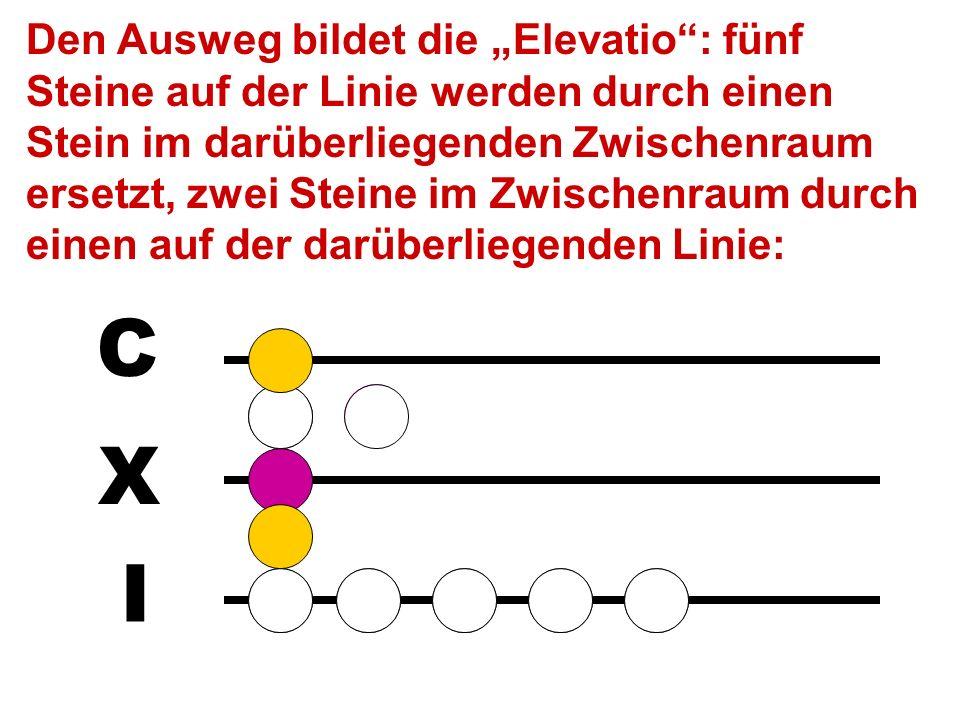 I X C M Das Ergebnis (61 + 54 = 115) kann jetzt nicht sofort abgelesen werden, weil im 50er-Raum zwei Steine liegen (statt ma- ximal 1) und auf der 1e
