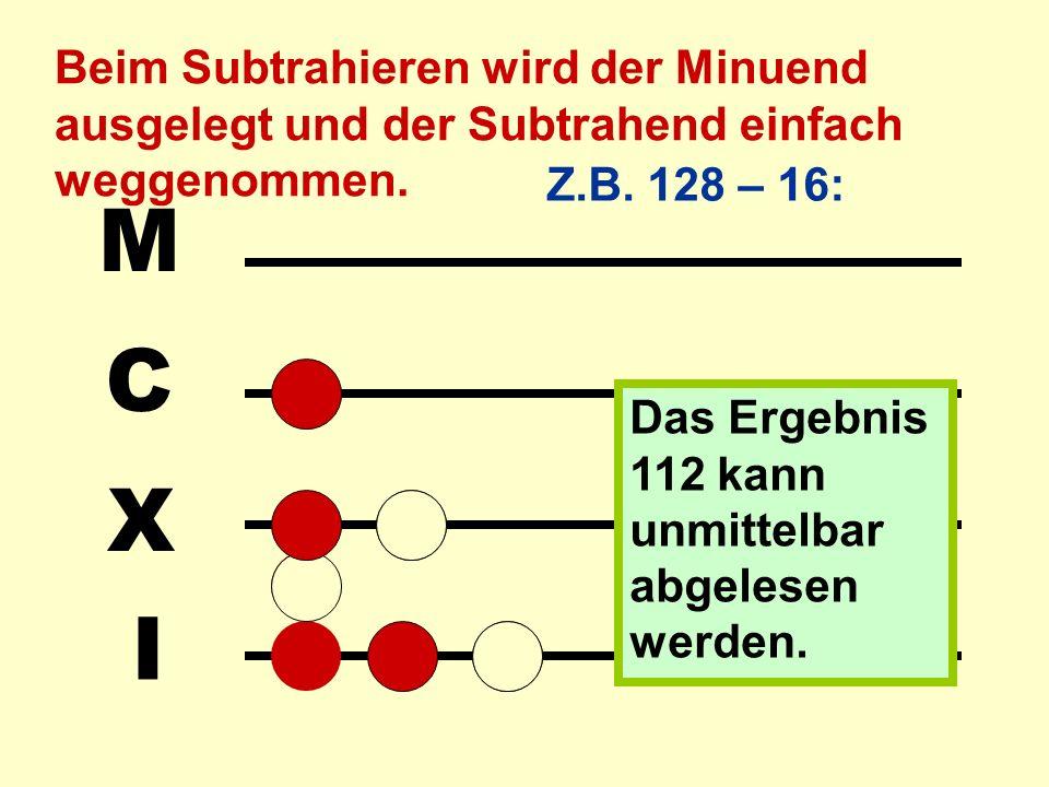 Die zweite Grundrechenart, das Subtrahieren, ist fast genauso leicht: