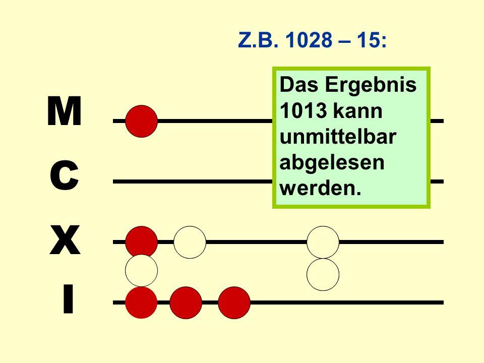 Man kann auch Minuend und Subtrahend nebeneinander auslegen und dann die Steine des Subtrahenden parallel bei beiden Zahlen wegnehmen. Dieses Verfahre