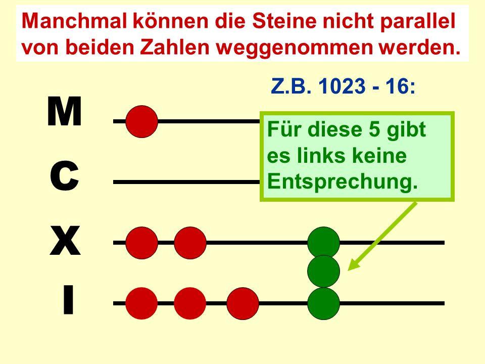 I X C M Z.B. 1028 – 15: Das Ergebnis 1013 kann unmittelbar abgelesen werden.