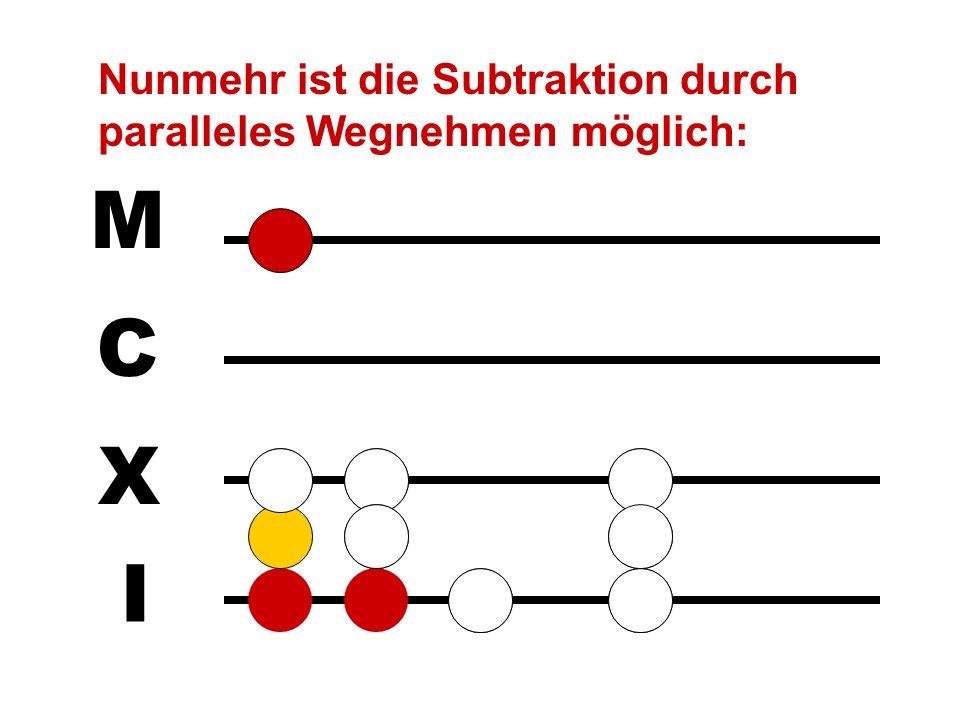 I X C M Z.B. 1023 - 16: In diesem Fall hilft die Resolutio, d.h. ein Stein auf der Linie wird in zwei Steine im darunterliegenden Zwischenraum aufgelö