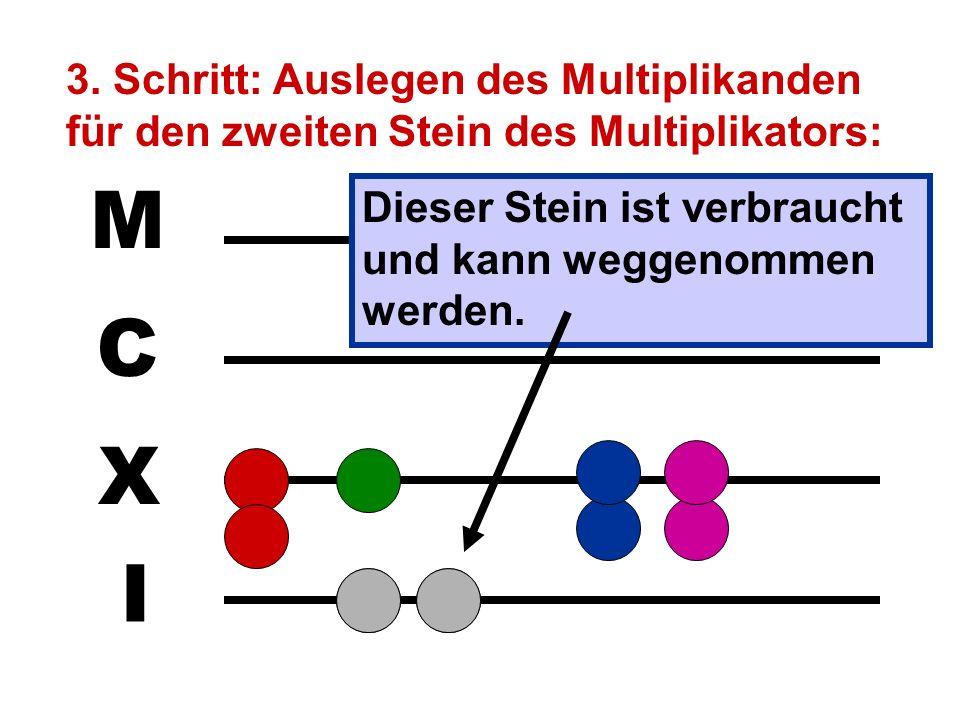 I X C M 2. Schritt: Auslegen des Multiplikanden für den ersten Stein des Multiplikators: Dieser Stein ist verbraucht und kann weggenommen werden.
