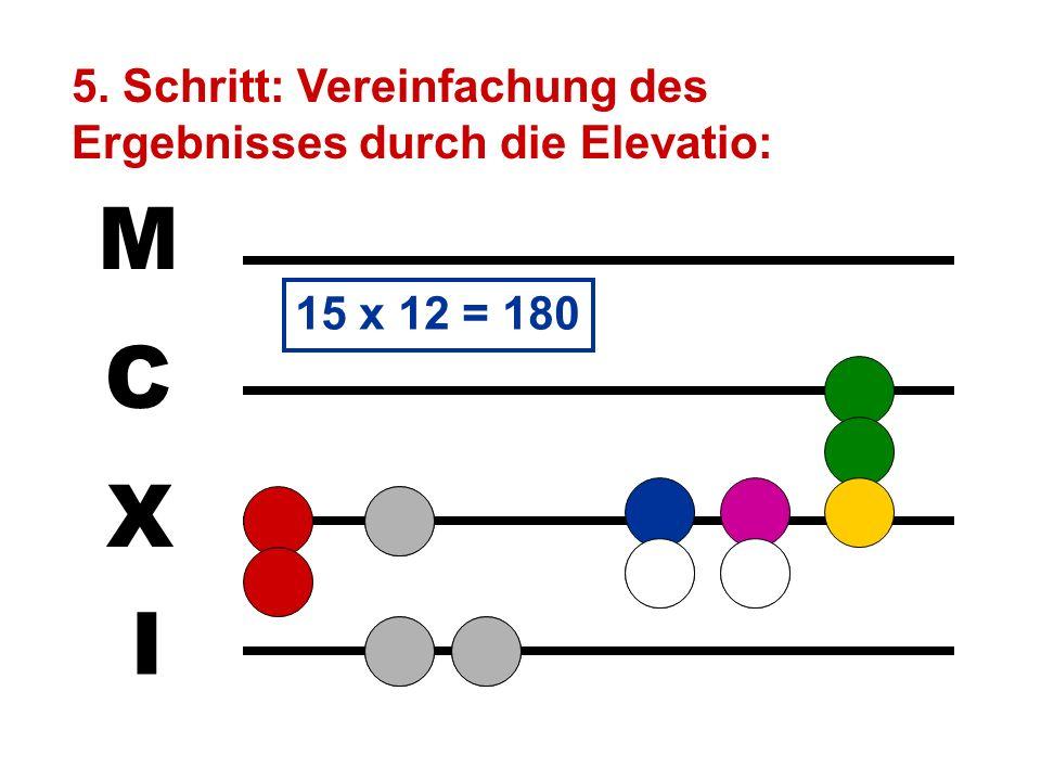 I X C M 4. Schritt: Auslegen des Multiplikanden für den drittten Stein des Multiplikators: Dieser Stein ist verbraucht und kann weggenommen werden. Vo