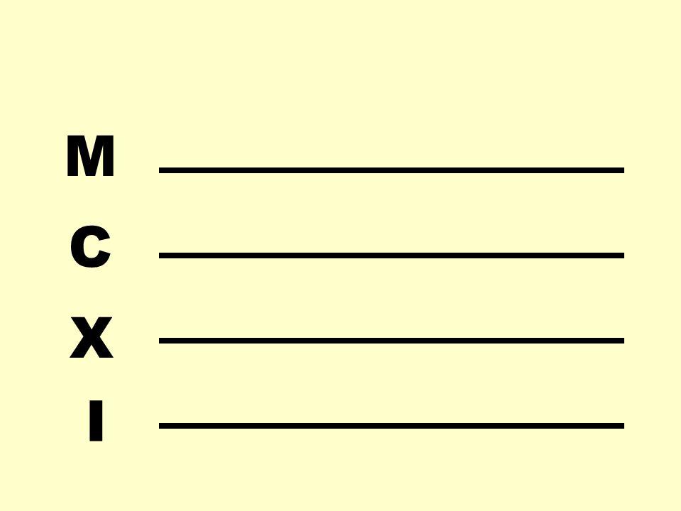 I X C M Auslegen des Ergebnisses gemäß Multiplikationstabelle: 1 x 5 = 5 5 x 5 = 25