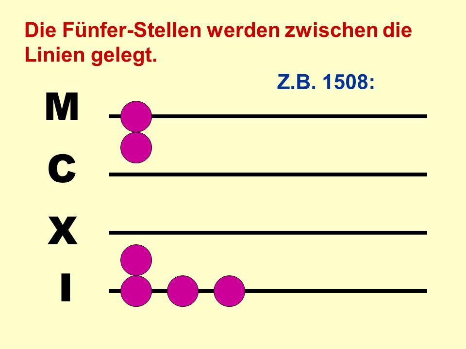 I X C M Die Fünfer-Stellen werden zwischen die Linien gelegt. Z.B. 1508: