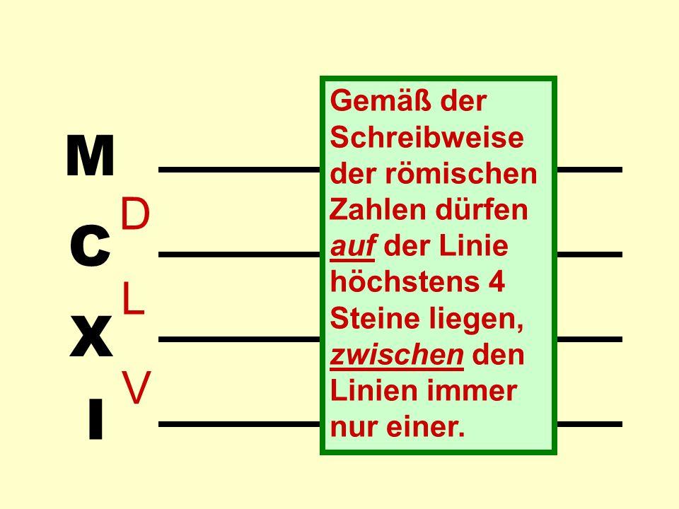 I X C M Gemäß der Schreibweise der römischen Zahlen dürfen auf der Linie höchstens 4 Steine liegen, zwischen den Linien immer nur einer.