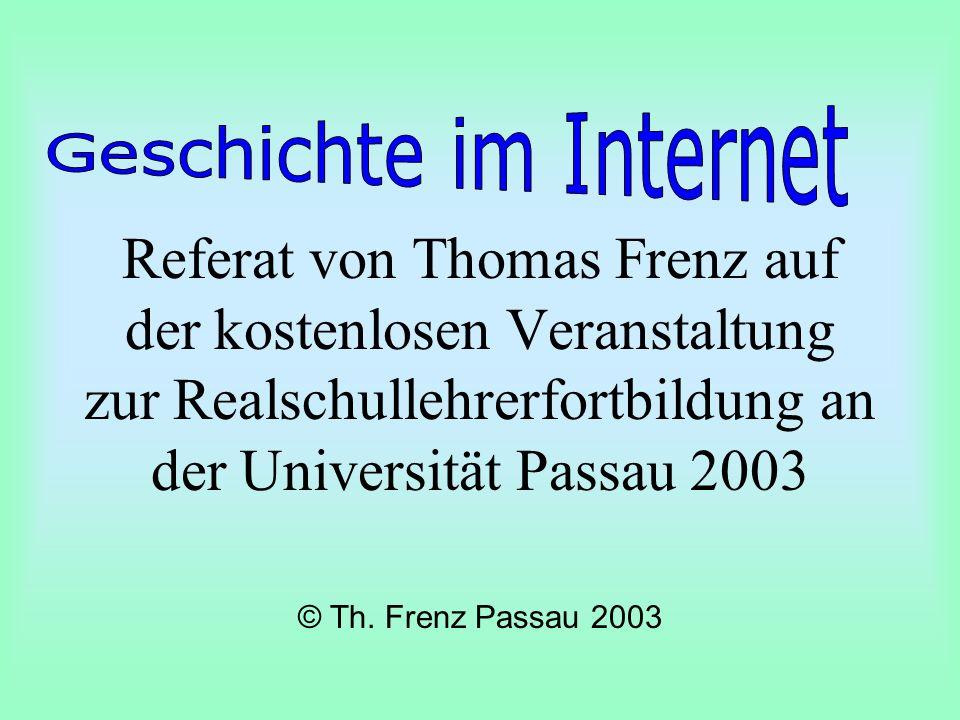 Referat von Thomas Frenz auf der kostenlosen Veranstaltung zur Realschullehrerfortbildung an der Universität Passau 2003 © Th.