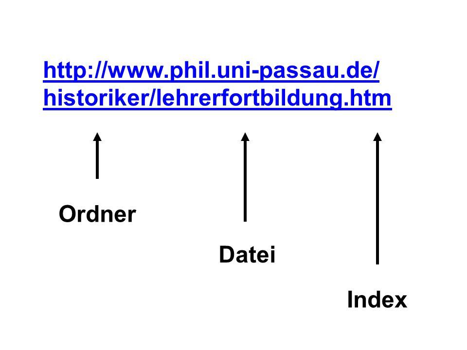 http://www.phil.uni-passau.de/ historiker/lehrerfortbildung.htm Ordner Datei Index