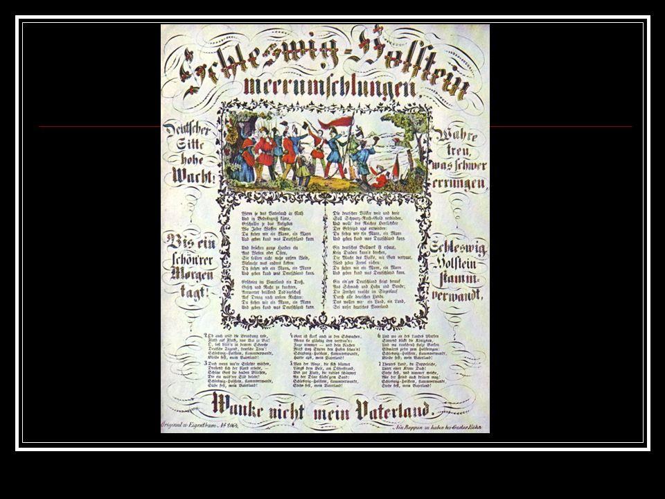 Schleswig-Holstein, meerumschlungen, Deutscher Sitte hohe Wacht, Wahre treu, was schwer errungen, Bis ein schönrer Morgen tagt.