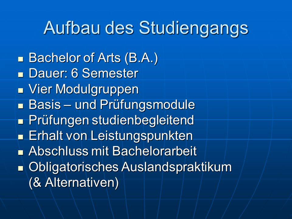 Aufbau des Studiengangs Bachelor of Arts (B.A.) Bachelor of Arts (B.A.) Dauer: 6 Semester Dauer: 6 Semester Vier Modulgruppen Vier Modulgruppen Basis