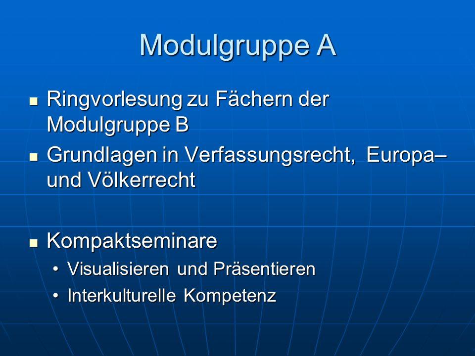 Modulgruppe A Ringvorlesung zu Fächern der Modulgruppe B Ringvorlesung zu Fächern der Modulgruppe B Grundlagen in Verfassungsrecht, Europa– und Völker