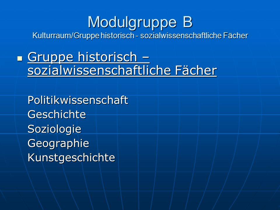 Modulgruppe B Kulturraum/Gruppe historisch - sozialwissenschaftliche Fächer Gruppe historisch – sozialwissenschaftliche Fächer Gruppe historisch – soz