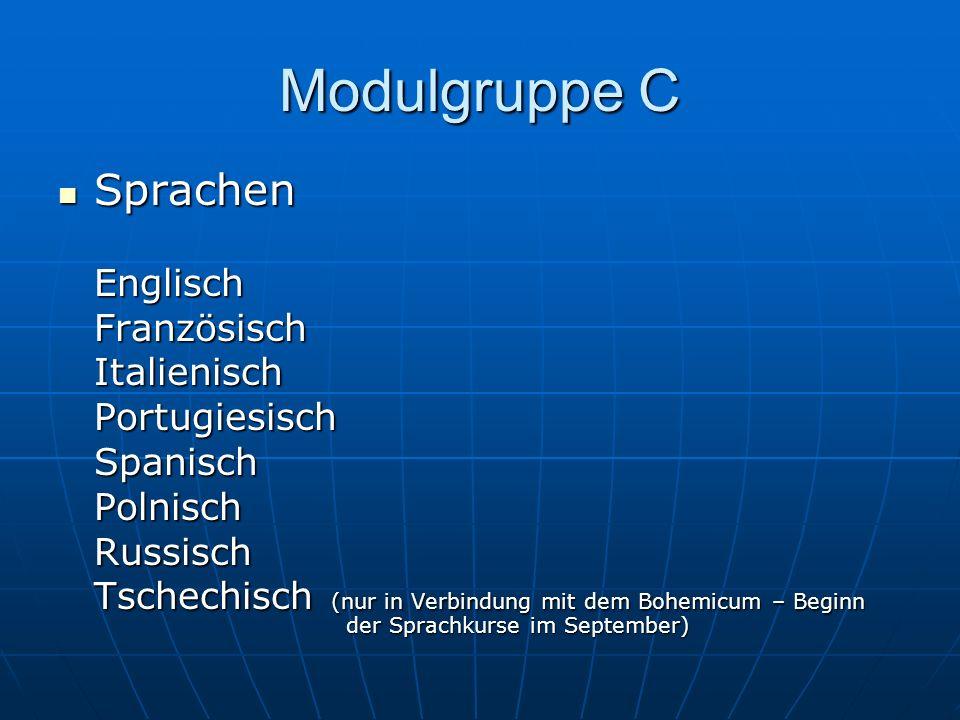 Modulgruppe C Sprachen SprachenEnglischFranzösischItalienischPortugiesischSpanischPolnischRussisch Tschechisch (nur in Verbindung mit dem Bohemicum –
