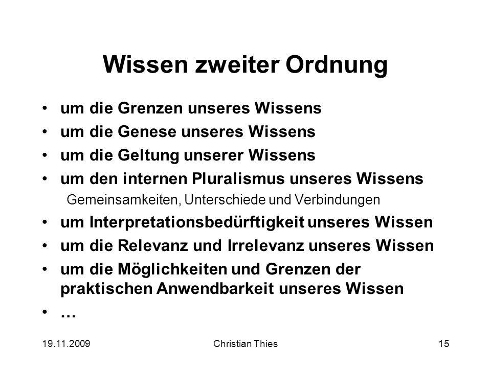 19.11.2009Christian Thies15 Wissen zweiter Ordnung um die Grenzen unseres Wissens um die Genese unseres Wissens um die Geltung unserer Wissens um den