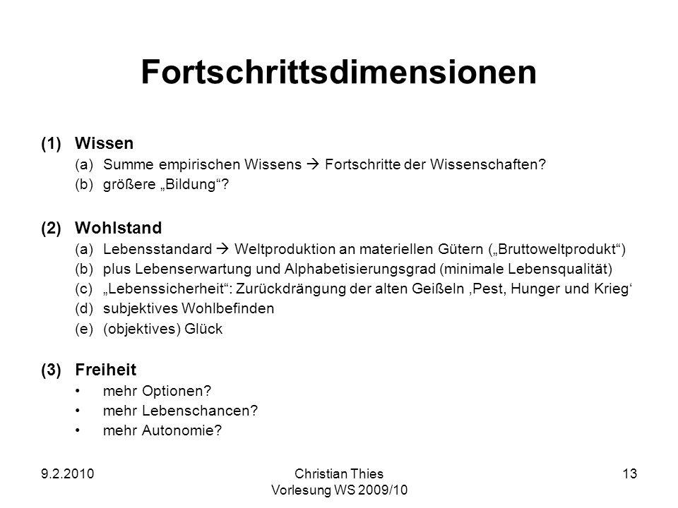 9.2.2010Christian Thies Vorlesung WS 2009/10 13 Fortschrittsdimensionen (1)Wissen (a)Summe empirischen Wissens Fortschritte der Wissenschaften? (b)grö