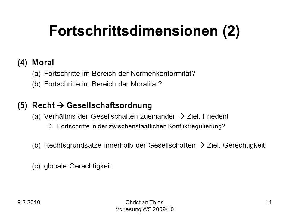 9.2.2010Christian Thies Vorlesung WS 2009/10 14 Fortschrittsdimensionen (2) (4)Moral (a)Fortschritte im Bereich der Normenkonformität? (b)Fortschritte