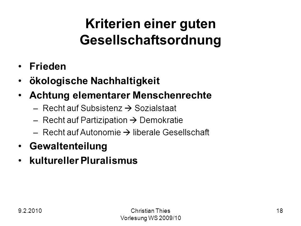 9.2.2010Christian Thies Vorlesung WS 2009/10 18 Kriterien einer guten Gesellschaftsordnung Frieden ökologische Nachhaltigkeit Achtung elementarer Mens
