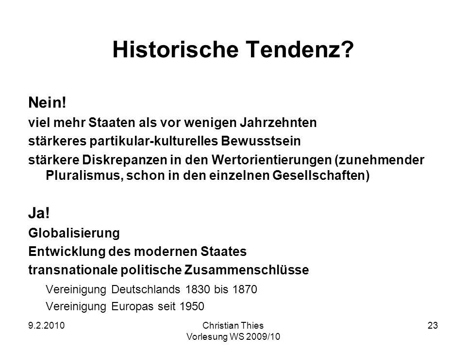 9.2.2010Christian Thies Vorlesung WS 2009/10 23 Historische Tendenz? Nein! viel mehr Staaten als vor wenigen Jahrzehnten stärkeres partikular-kulturel