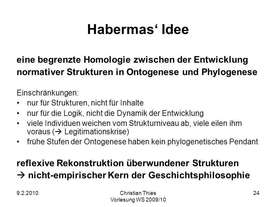 9.2.2010Christian Thies Vorlesung WS 2009/10 24 Habermas Idee eine begrenzte Homologie zwischen der Entwicklung normativer Strukturen in Ontogenese un