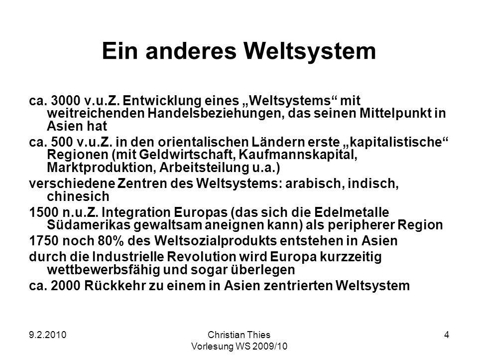 9.2.2010Christian Thies Vorlesung WS 2009/10 4 Ein anderes Weltsystem ca. 3000 v.u.Z. Entwicklung eines Weltsystems mit weitreichenden Handelsbeziehun