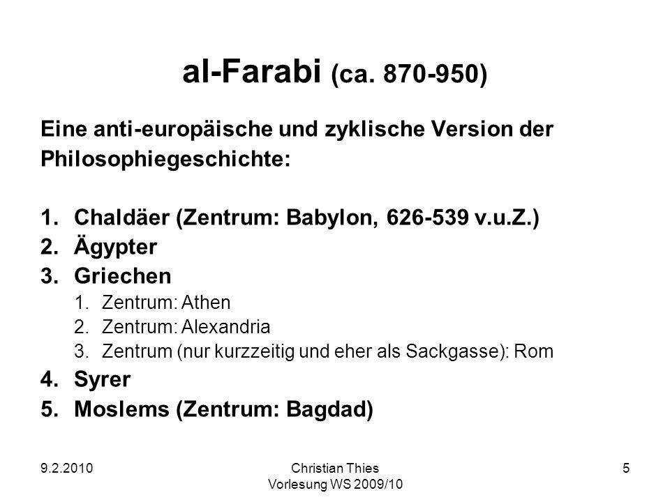 9.2.2010Christian Thies Vorlesung WS 2009/10 5 al-Farabi (ca. 870-950) Eine anti-europäische und zyklische Version der Philosophiegeschichte: 1.Chaldä