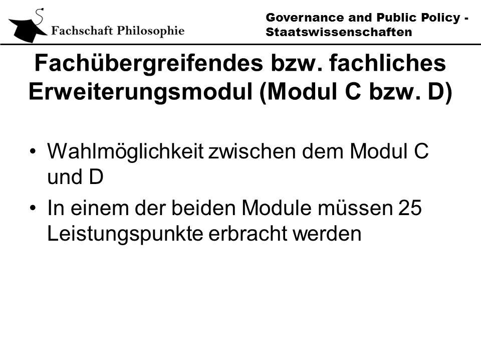 Governance and Public Policy - Staatswissenschaften Fachübergreifendes bzw.