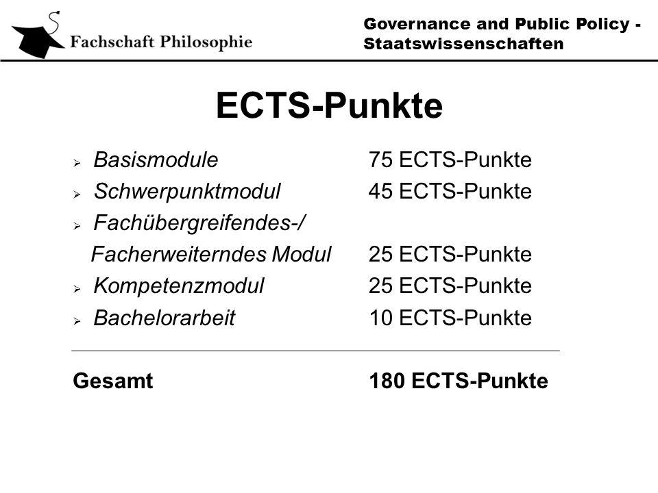 Governance and Public Policy - Staatswissenschaften ECTS-Punkte Basismodule75 ECTS-Punkte Schwerpunktmodul45 ECTS-Punkte Fachübergreifendes-/ Facherweiterndes Modul25 ECTS-Punkte Kompetenzmodul25 ECTS-Punkte Bachelorarbeit10 ECTS-Punkte Gesamt180 ECTS-Punkte
