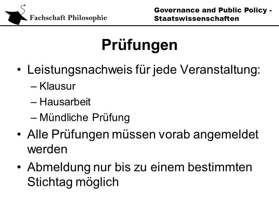 Governance and Public Policy - Staatswissenschaften Kompetenzmodul (Modul E)