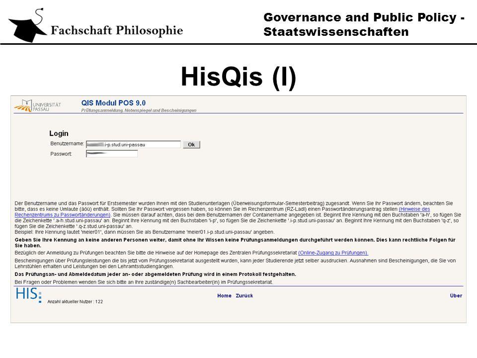 Governance and Public Policy - Staatswissenschaften HisQis (II)