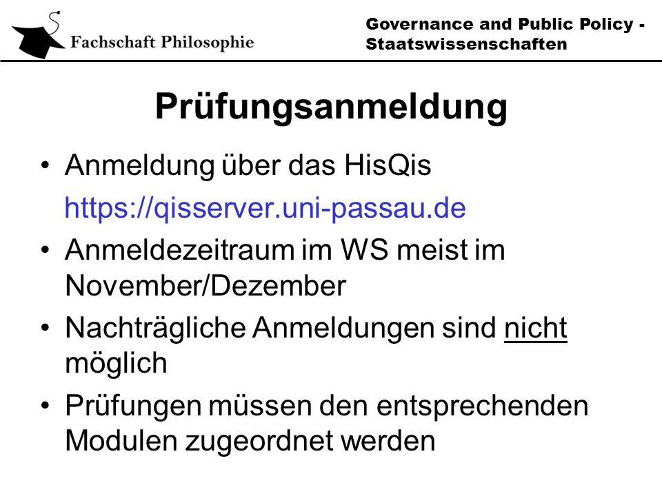 Governance and Public Policy - Staatswissenschaften Schwerpunktmodul (Modul B)