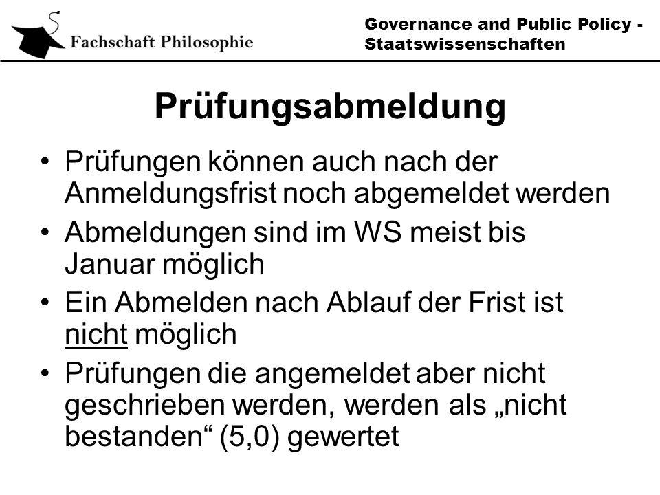 Governance and Public Policy - Staatswissenschaften Sprachen (II) Die 12 Leistungspunkte müssen in einer Sprache bzw.