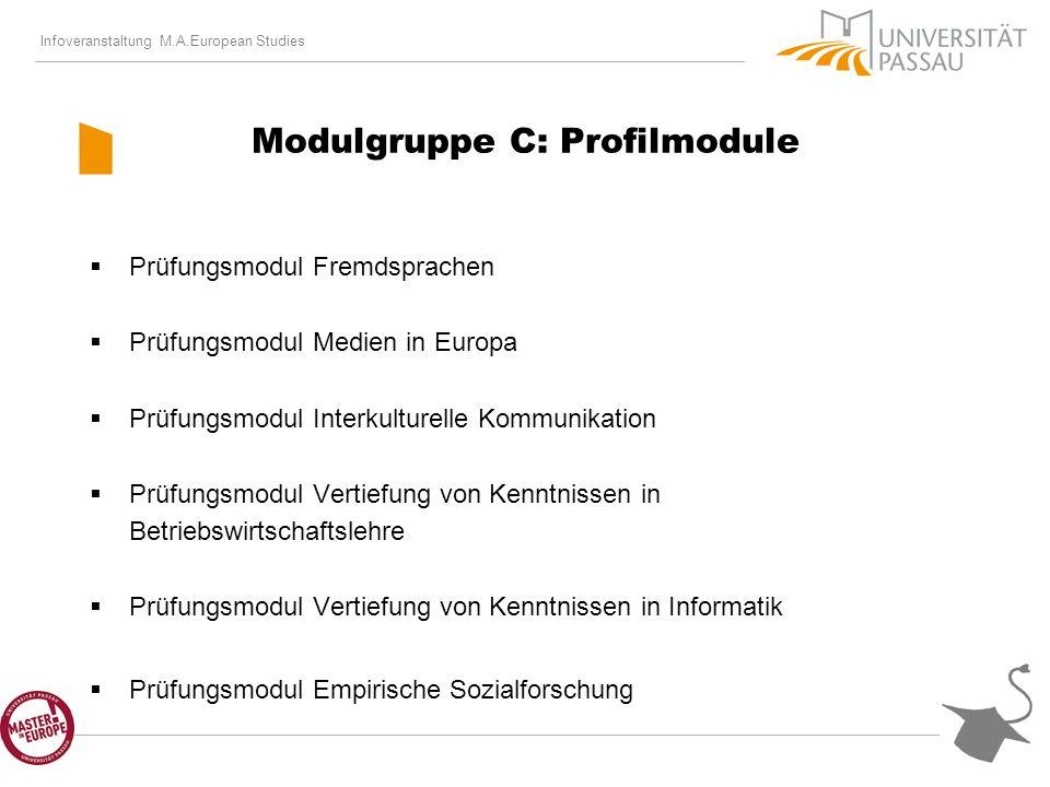 Infoveranstaltung M.A.European Studies Modulgruppe C: Profilmodule Prüfungsmodul Fremdsprachen Prüfungsmodul Medien in Europa Prüfungsmodul Interkulturelle Kommunikation Prüfungsmodul Vertiefung von Kenntnissen in Betriebswirtschaftslehre Prüfungsmodul Vertiefung von Kenntnissen in Informatik Prüfungsmodul Empirische Sozialforschung