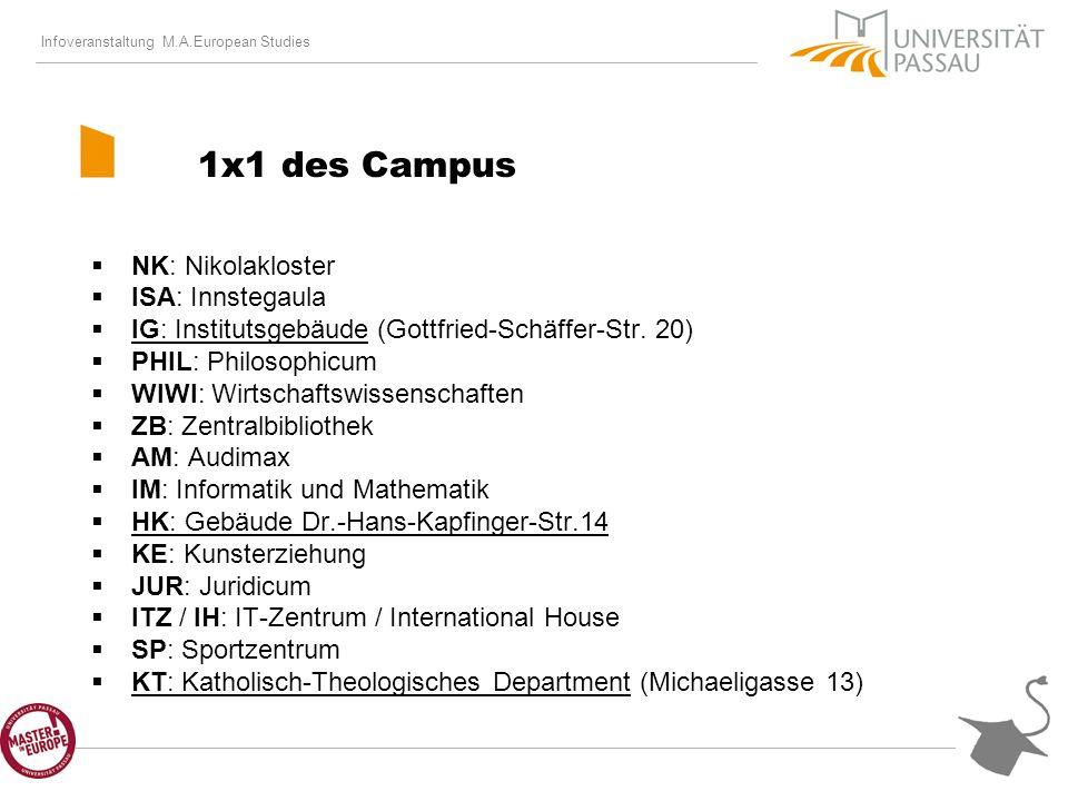 Infoveranstaltung M.A.European Studies Aufbau des Studiengangs Master of Arts (M.A.) Regelstudienzeit: 4 Semester 3 Modulgruppen Erhalt von Leistungspunkten Abschluss mit Masterarbeit