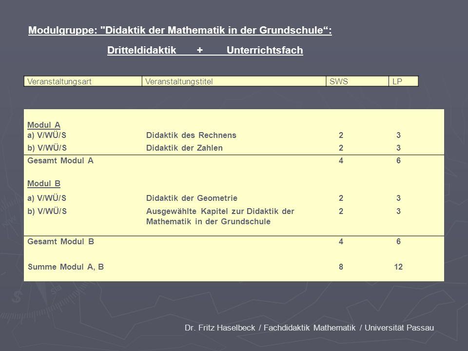 Dr. Fritz Haselbeck / Fachdidaktik Mathematik / Universität Passau VeranstaltungsartVeranstaltungstitelSWSLP Modul A a) V/WÜ/SDidaktik des Rechnens 2