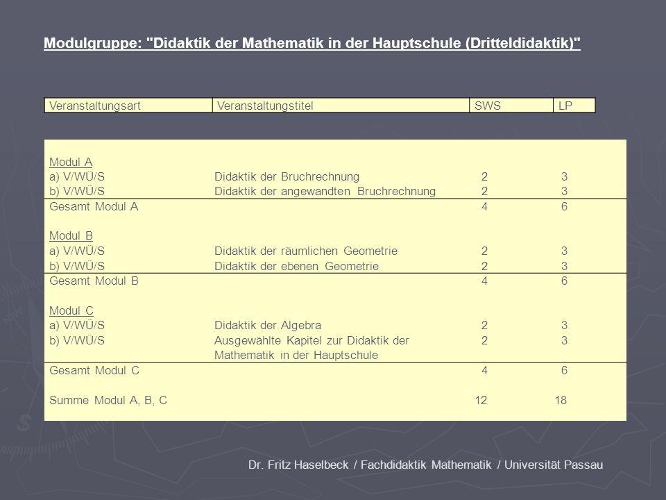 Dr. Fritz Haselbeck / Fachdidaktik Mathematik / Universität Passau VeranstaltungsartVeranstaltungstitelSWSLP Modul A a) V/WÜ/SDidaktik der Bruchrechnu