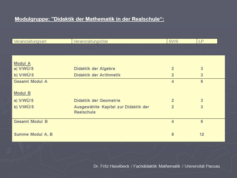 Dr. Fritz Haselbeck / Fachdidaktik Mathematik / Universität Passau VeranstaltungsartVeranstaltungstitelSWSLP Modul A a) V/WÜ/SDidaktik der Algebra 2 3