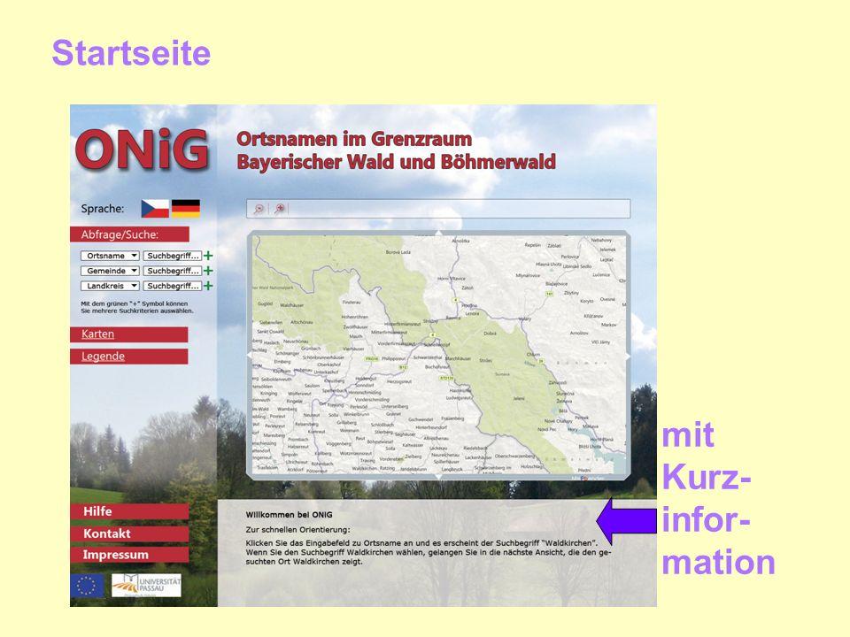 Startseite mit Kurz- infor- mation