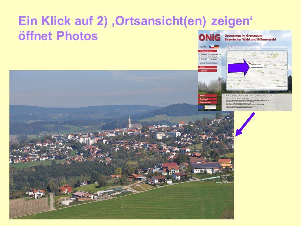Ein Klick auf 2) Ortsansicht(en) zeigen öffnet Photos