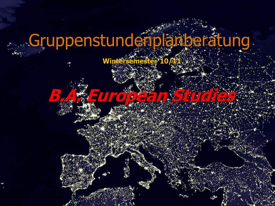 Gruppenstundenplanberatung B.A. European Studies Wintersemester 10/11