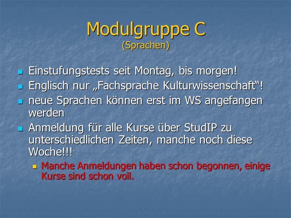 Modulgruppe C (Sprachen) Einstufungstests seit Montag, bis morgen! Einstufungstests seit Montag, bis morgen! Englisch nur Fachsprache Kulturwissenscha