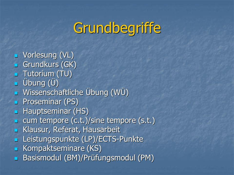Grundbegriffe Vorlesung (VL) Vorlesung (VL) Grundkurs (GK) Grundkurs (GK) Tutorium (TU) Tutorium (TU) Übung (Ü) Übung (Ü) Wissenschaftliche Übung (WÜ)