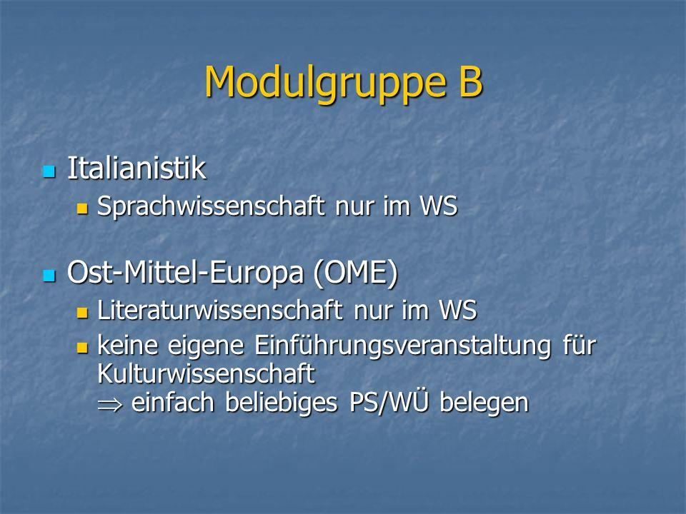 Modulgruppe B Italianistik Italianistik Sprachwissenschaft nur im WS Sprachwissenschaft nur im WS Ost-Mittel-Europa (OME) Ost-Mittel-Europa (OME) Lite