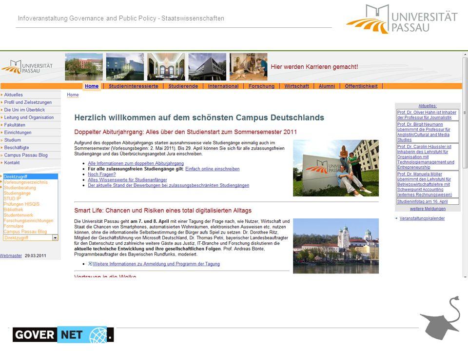 Vorlesungsverzeichnis Stud.IP: www.intelec.uni-passau.de Modulzuordnung der Veranstaltungen meistens zusätzlich auf den entsprechenden Lehrstuhlseiten