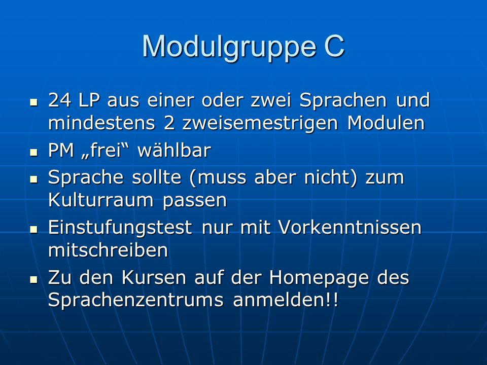 Modulgruppe C 24 LP aus einer oder zwei Sprachen und mindestens 2 zweisemestrigen Modulen 24 LP aus einer oder zwei Sprachen und mindestens 2 zweiseme