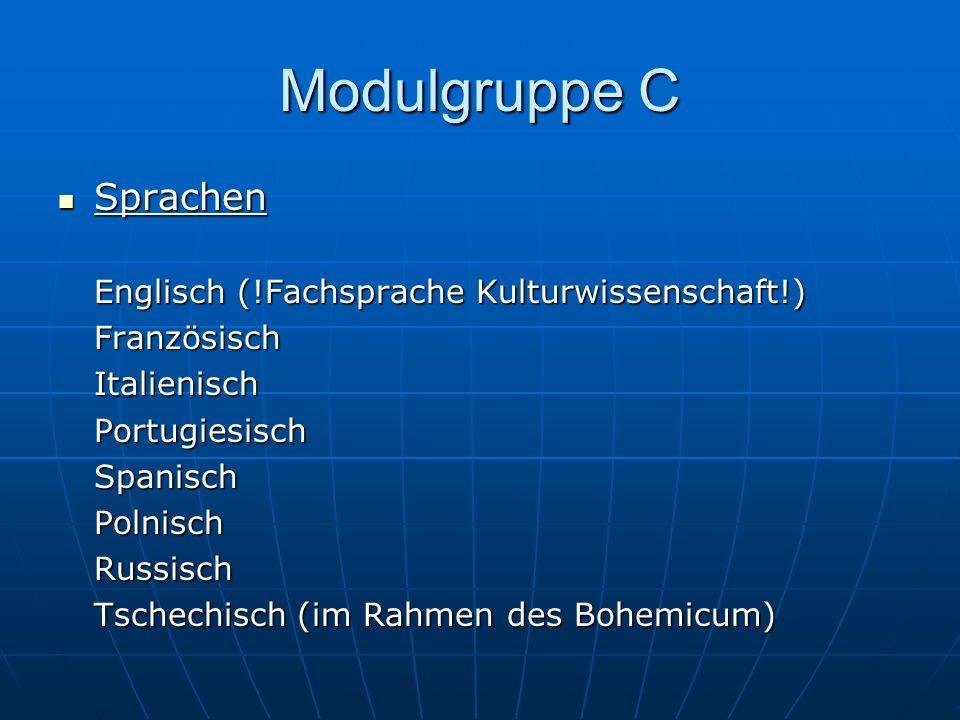 Modulgruppe C Sprachen Sprachen Englisch (!Fachsprache Kulturwissenschaft!) FranzösischItalienischPortugiesischSpanischPolnischRussisch Tschechisch (i