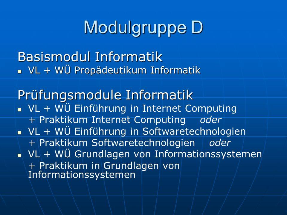 Modulgruppe D Basismodul Informatik VL + WÜ Propädeutikum Informatik VL + WÜ Propädeutikum Informatik Prüfungsmodule Informatik VL + WÜ Einführung in