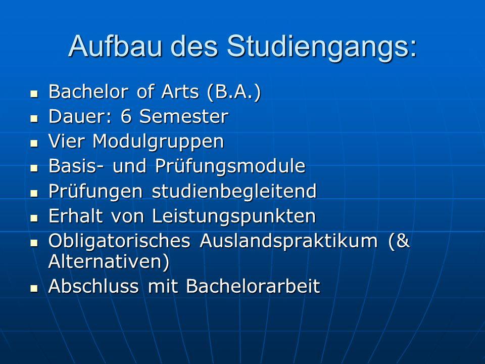 Aufbau des Studiengangs: Bachelor of Arts (B.A.) Bachelor of Arts (B.A.) Dauer: 6 Semester Dauer: 6 Semester Vier Modulgruppen Vier Modulgruppen Basis